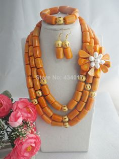 2014 New African Wedding Coral Beads Jewelry Set African Costume Bridal Jewelry Set Free Shipping L-083 $88.68
