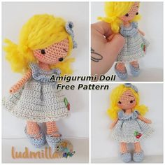 In this article we will share the amigurumi doll fairy tale free crochet pattern. Amigurumi related to everything you can not find and share with you. Crochet Dolls Free Patterns, Crochet Doll Pattern, Doll Patterns, Crochet Toys, Free Crochet, Half Double Crochet, Single Crochet, Knitted Dolls, Amigurumi Doll