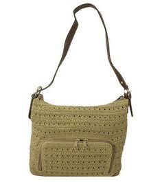 NEW Amanda Smith Ladies Tan Crochet Zip-top Shoulder Handbag w/ Wallet