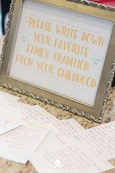 Unique activity :write down a personal family tradition that might be worth considering for a new family.