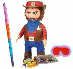 "Sheriff Pinata Party Pack Including Pinata, Pinata Candy and Toy Filler, Buster and Blindfold by Pinata. $35.57. Includes (1) themed Sheriff Pinata. Paper; 19"" high x 15"" wide. Includes approximately 2 pounds of Candy and Toys. Caution: not recommended for children under 3 years of age. Includes one hard Plastic Pinata Buster that measures approximately 30"". Caution: use only under adult supervision. Includes one Blindfold with Elastic String. Measures 7"" long x 5.5"" high."
