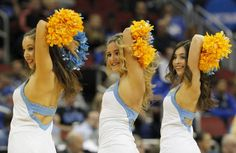 UCLA Bruins' cheerleaders cheer for their team against the SMU Mustangs in their second round game of the 2015 NCAA Division I Men's Basketball Championship at the KFC Yum! Center in Louisville, Kentucky, March 19, 2015. Photo by John Sommers II/UPI