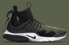 "Official images of the upcoming ACRONYM x NikeLab Air Presto ""Olive"" have  surfaced."