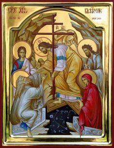 Christ is risen! Byzantine Art, Byzantine Icons, Religious Icons, Religious Art, Church Icon, Christ Is Risen, Religious Paintings, Russian Icons, Jesus Resurrection