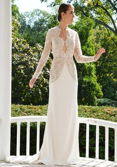 Bellethemagazine wedding dresses | Paula Varsalona Collection | Floor Ivory Sheath V-Neck $$$$ ($3,001-5,000)