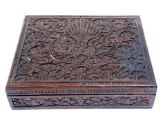 Antique Wooden Box - Colonial Art Deco Carved Hardwood Box - Vintage Trinket Box - Oriental Balinese Carved Wood - Paradise Bird Ornament at VintageArtAndCraft