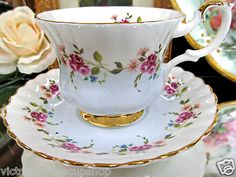 Royal Albert Tea Cup and Saucer Blue Bottom with Flowers Teacup | eBay
