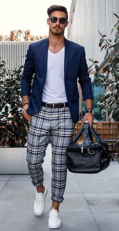 Smart Casual Dress Code for Men: 19 Best Smart Casual Outfit Ideas : Plaid Trousers, White tee, Blazer and Sneakers Best Smart Casual Outfits, Smart Casual Wear, Stylish Mens Outfits, Men Casual, Casual Smart Fashion, Smart Casual Menswear, Swag Fashion, Queer Fashion, Casual Styles