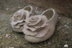 Felted slippers in beige - ing00te on etsy $80.00