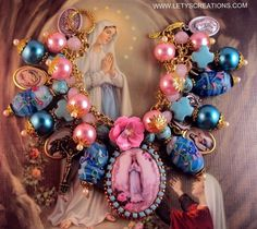 Catholic Virgin Mary OL Lourdes Cameo, Saints Religious Medals Charm Bracelet www.letyscreations.com
