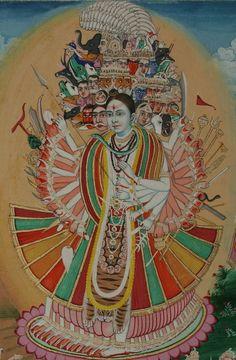 "hinducosmos: ""Shiva Vishvarupa (Cosmic Shiva) Opaque watercolour with gold on used British ledger paper. Jaipur, circa Photography by Peter Blohm "" Om Namah Shivaya, Mughal Paintings, Indian Paintings, Indian Gods, Indian Art, Brahma, Shiva Tattoo, Shiva Shakti, Hindu Deities"