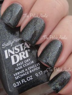 Sally Hansen Insta Dri: In A Flurry - dark grey glitter nails Funky Nail Art, Funky Nails, Black Nail Polish, Glitter Nail Polish, Dry Nails Fast, Sally Hansen Nails, Sparkly Nails, Nail Envy, Nail Accessories