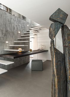 This kind of staircase architecture is unquestionably an impressive style principle. Home Stairs Design, Interior Stairs, Home Room Design, Modern House Design, Modern Interior Design, Staircase Design Modern, Staircase Architecture, Interior Architecture, Modern Stairs