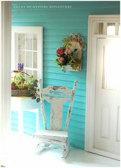 In the Court of the Gypsies: Hydrangea in Brocante Style Planter Miniature Plants, Miniature Rooms, Miniature Houses, Turquoise Cottage, House Front Porch, Shabby Chic Porch, Aqua, Tiny Treasures, Porch Decorating