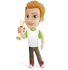 Casual guy vector character holding a piece of paper in his hand. #vector #character #free #man