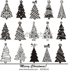 set of christmas trees isolated on White background. Vector illustration