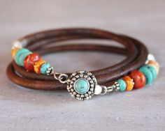 Turquoise Leather Bracelet Triple wrap by ChickpeaDesignStudio
