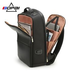 BOPAI USB Charge Backpack Men Leather for Travelling Fashion Cool School Backpack Bags for Boys Anti Theft laptop backpack 2018 From Touchy Style Outfit Accessories Best Laptop Backpack, Men's Backpack, Fashion Backpack, Laptop Bags, Teenager Fashion Trends, Trend Fashion, Leather Backpack For Men, Leather Men, Leather Bags