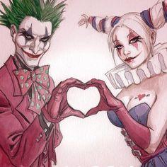 Harley and Joker Le Joker Batman, Harley Quinn Et Le Joker, Harley And Joker Love, Harley Quinn Tattoo, Harley Quinn Drawing, Joker Art, Harley Quinn Cosplay, Harey Quinn, Joker Drawings