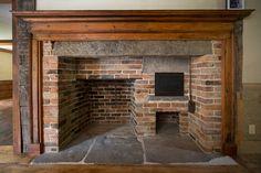 New farmhouse brick fireplace early american Ideas Primitive Fireplace, Cozy Fireplace, Fireplace Design, Fireplace Mantels, Fireplaces, Backyard Fireplace, Farmhouse Fireplace, Primitive Kitchen, Fireplace Ideas