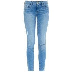FRAME DENIM Le Skinny de Jeanne cropped jeans ($195) ❤ liked on Polyvore featuring jeans, pants, bottoms, pantalones, calças, light indigo, frame denim jeans, blue jeans, indigo jeans et cropped skinny jeans