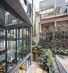 The main structural work includes a modern extension that piggybacks onto the three-storey original house