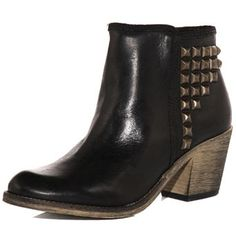 Black Leather Stud Ankle Boots.