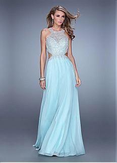Chic Tulle & Chiffon Jewel Neckline Floor-length A-line Prom Dress