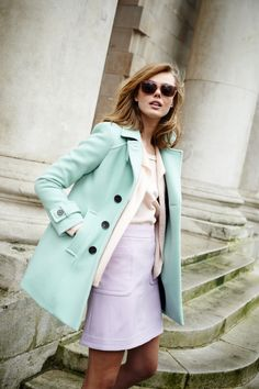 """Boden Ledbury Pea Coat. """"The classic pea coat gets the Boden treatment, with a chic silhouette and some unexpected additions. We love the new Pastel Green and Charcoal Melange colour options."""" #NewBritish"""