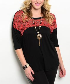 Love this Black & Red Lace-Yoke Crewneck Top - Plus on #zulily! #zulilyfinds