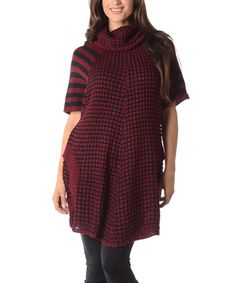 Another great find on #zulily! Burgundy & Black Contrast-Knit Cowl Neck Sweater - Plus #zulilyfinds