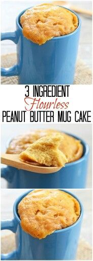 3 Ingredient Flourless Peanut Butter Mug Cake. Easy and ready in 5 minutes and you won't believe it is flourless! 3 Ingredient Flourless Peanut Butter Mug Cake. Easy and ready in 5 minutes and you won't believe it is flourless! Flourless Peanut Butter Cake, Peanut Butter Mug Cakes, Flourless Mug Cake, Flourless Chocolate, Chocolate Chips, Cake Chocolate, Chocolate Desserts, Peanut Butter Breakfast, Peanut Butter Snacks