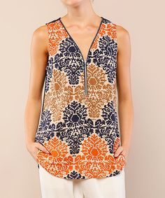 Another great find on #zulily! Navy & Orange Damask Zip-Front Sleeveless Top #zulilyfinds