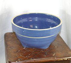 40s McCoy Blue Glazed Yellowware Bowl Blue McCoy by KickassStyle, $32.00