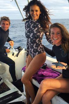 Nina Dobrev wearing  Acacia Swimwear Ehukai Body Suit in Black Elephant