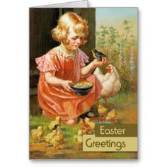 """Easter Greetings. Customizable Fine Art Easter Greeting Cards. """"Girl with Chicks"""", Oil Painting, circa 1900. Artist: William H. Lister."""