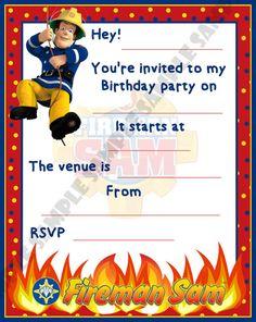 Fireman Sam Birthday Party Invitations / Invites by ShazIan