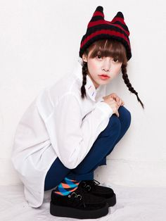 Zanzea®Cute Devil Striped knitted Wool Hat