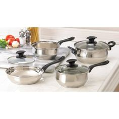 """by La Boca Good meals start with quality cookware, and this 7-piece set contains everything you need to prepare a gourmet feast! A full array of pots and pans, complete with lids, makes cooking easy and fun. Set includes three assorted-size saucepans; one deep skillet; three fitted lids.  Two saucepans with lids (1.5 & 2 quart), 3 quart pot with lid; pan: 8 1/2"""" x 8 1/2"""" x 2 1/8"""" deep. www.allgooddecor.com/shop.html #allgooddecor #decorations #gifts #candles #toys #discount #furniture"""