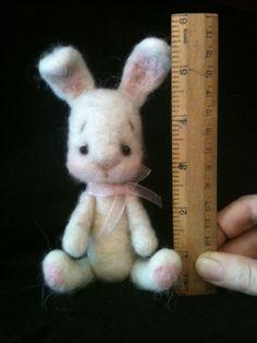 Needle Felted White Bunny Artist Bear by TigerLilyLane on Etsy