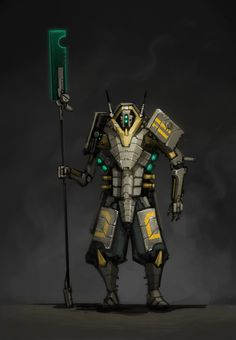 Another quick piece. Its been a while since I did any sci-fi work, its nice to paint robots again P: I also recorded the painting process, so if you want a peek into the madness that is my workflow. Character Concept, Character Art, Character Design, Character Creation, Fantasy Warrior, Sci Fi Fantasy, Sci Fi Armor, Warhammer 40k Art, Robot Concept Art