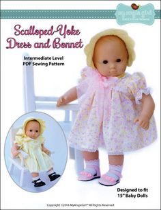 "Scalloped-Yoke Dress and Bonnet 15"" Doll Clothes"