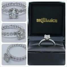 """Want to WIN up to $3000 towards creating your dream engagement or wedding ring? Get ready to say """"I Do!"""" with this stunning custom design giveaway from the experts at Brilliance!  Join our custom ring sweepstakes here:  http://blog.brilliance.com/contest/custom-ring-contest  (In photo: The custom diamond bezel eternity engagement ring in 14K White Gold; $7,350 -- Round cut diamond, ring setting)"""