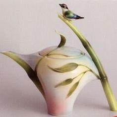 Franz Porcelain Bamboo Song Bird Design Teapot