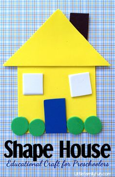 Fun and educational craft for preschoolers! create a house out of shapes! the napping house Preschool Projects, Classroom Crafts, Preschool Learning, Toddler Activities, Preschool Activities, Preschool Shapes, Preschool Family Theme, Shape Activities, Nursery Activities