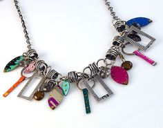 Recycled Tin Can & Ruler Charm: Beth Taylor: Metal Necklace - Artful Home