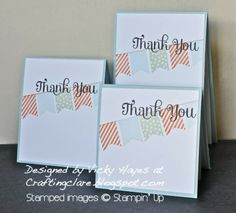 Stampin' Up ideas and supplies from Vicky at Crafting Clare's Paper Moments: Thank you (for the Sale-a-bration freebies!)