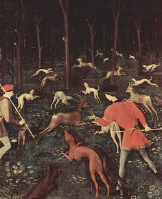 Paolo Ucello - Hunt in a forest at night (1468) - detail #NightHunting