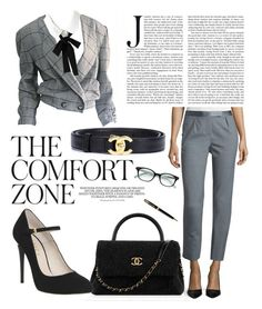 """""""Comfort Zone"""" by cinnamonbelle ❤ liked on Polyvore featuring Krizia, WithChic, Chanel, Halston Heritage, Office, Kate Spade and Parker"""
