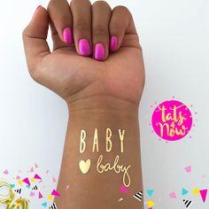 Pregnancy Reveal | Girl Baby Shower Gift Girl, New Baby Girl Gift, Its a Girl Baby Shower Ideas, Gold Baby Shower, baby girl, its a girl, temporary tattoo